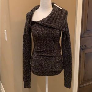 Cowl neck zipper sweater
